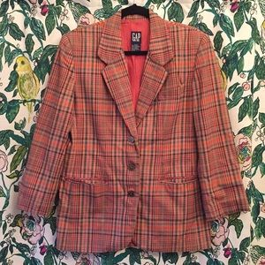 Vintage 90's Gap 3/4 Sleeve Plaid Blazer